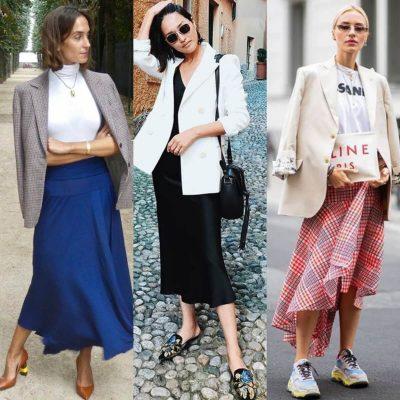 Como usar saia midi com blazer